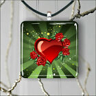 LOVE RED HEART PENDANT NECKLACE 3 SIZES CHOICE -fge4Z