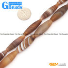 Brown Stripe Matte Agate Olivary Rice Beads For Jewelry Making Free Shipping 15""