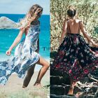 Women Casual Spaghetti Strap Sleeveless Floral Loose Beach Dress TXCL01