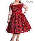 Hell Bunny 50s Dress Pin Up CORDELIA Red Black Poppy Flowers All Sizes
