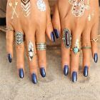 8Pcs Women Boho Vintage Silver/Gold Turquoise Knuckle Band Rings Set Jewelry New