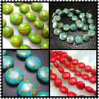 """8mm 10mm 12mm 14mm 20MM Blue Oblate Turquoise Gemstone Spacer Beads Jewelry 16"""""""