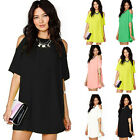 Womens Off Shoulder Short Mini Dress Summer Beach Long Tops T Shirt Size S~XXL