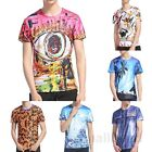 Summer Men's Crew Neck Tops Graphic T-Shirt Tee Shirt Slim Fit Short Sleeve Top