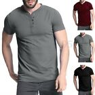 Mens Slim Fit Summer Crew Neck Bottons Short Sleeve Plain T Shirt Tee Tops S-3XL