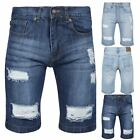 Mens Ripped Knee Length Destroyed Distressed Faded Pockets Classic Denim Shorts