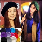 Pure color Wool Warm Girls Women French Classic Beret Beanie Slouch Hat Cap Tam