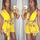 Summer Womens Floral Print Shorts Jumpsuit Wrap Tunic Backless Rompers Playsuit