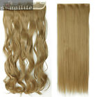 100% Real Thick Hair Full Head Clip In on Remy Hair Extensions Straight Wavy SS5