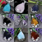 1pc Quartz Amethyst Agate Gemstone Inlaid Flower Teardrop Reiki Healing Pendant