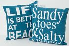 38cm Nautical Blue 100% Cotton Cushion Cover With Inner Beach Hut Holiday Home
