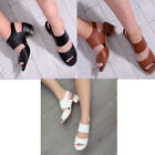 women ladies summer sandal mid heel block buckle faux leather wide fit shoe size