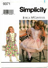 Simplicity 9371 Girls Special Occasion Dress Sewing Pattern Size 2 3 4
