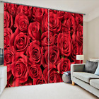 3D Blockout Curtain 2 Panels Set Readymade Eyelet Ring Top--Rose Flowers 047