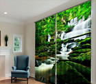 3D Blockout Curtain 2 Panels Set Readymade Eyelet Ring Top--Waterfall Forest 048