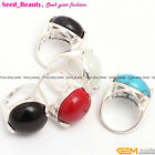 20mm Semicircle Button Gemstone Beads Silver Pleated Rings Send Ramdom size 7-9