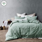 3 Pce Washed Cotton Quilt Doona Duvet Cover Set GREEN by Accessorize - QUEEN KIN