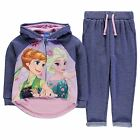 Character Kids Jog Set Tracksuit Infant Girls Ribbed Trousers Print Hooded Top