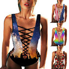 New Womens Bandage Bikini Swimwear Monokini Hollow One-Piece Push Up Swimsuit