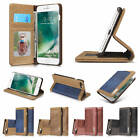 For iPhone 7 Plus Vintage Durable Canvas Card Pocket Kickstand Wallet Case Cover