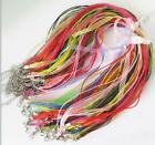 10pcs Mixed Colors Chiffon Ribbon Wax String Necklace Diy Jewelry Accessories