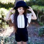 Toddler Baby Girls Clothes Top T-shirt + Strap shorts Summer Outfits Kids Set