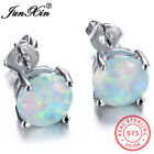Junxin Women Classic 925 Sterling Silver Round Cut White Fire Opal Stud Earrings image
