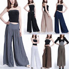 Women Lady Solid Palazzo Wide Leg Trousers High Waist Long Loose Casual Pants US
