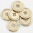 12pcs Gold Round Shape Metal 4-Hole Flat Button For Shirt Sewing Craft 20mm