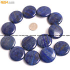 30mm Coin Natural Stone Genuine Lapis Lazuli Gem Beads For Jewelry Making 15""