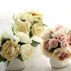 New 8 Heads Artificial Peony Silk Flower Leaf Home Wedding Party Decor Bouquet