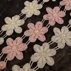 1m Flower Pearl Lace Trim Wedding Bridal Applique Sewing Craft Pink White  LC125