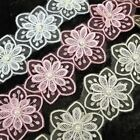 1m Flower Pearl Lace Trim Wedding Bridal Applique Sewing Craft Pink White  L166