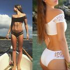 Women Boat Collar Hollow Out Two Piece Wire Free Padded Beach Bikini ES9P01