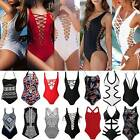 Ladies One Piece Monokini Push Up Padded Bra Bikini Bathing Swimsuit Swimwear FO