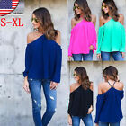 HOT US Fashion Womens Off Shoulder Casual Blouse Loose Long Sleeve Tops T Shirt