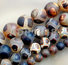 Natural Matte Black Tibetan Mystical Old Agate Spherical Beads 6mm 8mm 10mm 12mm