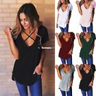 Women Casual Front Cross O-Neck Short Sleeve Hole Circle Hem Solid ES9P02