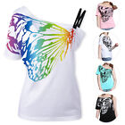 One Shoulder Print Butterfly Blouse Baggy Ovresized Off Shoulder T-shirt Top