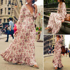 Women Long Sleeve Boho Long Dress Ladies Cocktail Party Summer Beach Maxi Dress