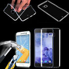 Clear TPU Gel Case Cover & Tempered Glass Screen Protector for HTC Smartphones