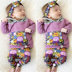 Floral Toddler Kids Baby Girls Hooded Tops Coat +Pants Outfits 2PCS Clothes Set