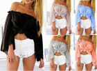Womens Ruffle Bell Sleeves Off Shoulder Tops Casual Chiffon Beach Blouse Hot