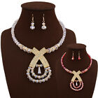 Women Girl Fashion Wholesale Red Crystal Pendant Neck Wear Jewelry Sets