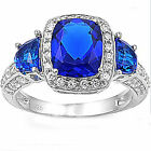 FREE SHIP! Blue Sapphire & Russian CZ .925 Sterling Silver Ring Size 6 7 8 9