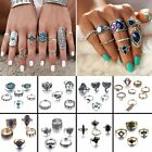 Women Boho Vintage Turquoise Stack Rings Above Knuckle Rings Finger Set Jewelry