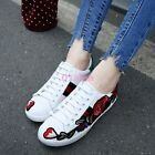 Womens School Embroidered Flower White Lace up Spring Shoes Sneakers Casual New