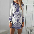 Women Chinese Style Blue and White Long Sleeve Short Mini Dress Party Evening