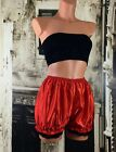 Red sliPpy stretchy satin effect sissy bloomers knickers panties M/L R15340