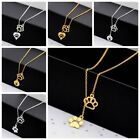 Animal Dog Cat Paw Print Pendant Love Heart Necklace Chain Pet Lovers Gift